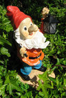View Item Happy Garden Gnome &amp; Lantern Solar Light. Outdoor LED
